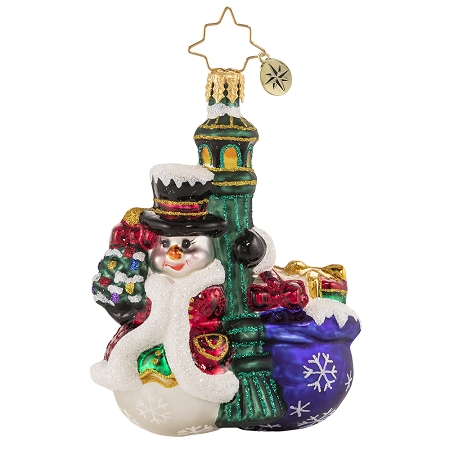 RADKO 1020669 SWINGING IN THE RAIN GEM - SNOWMAN & LAMP POST WITH BAG OF GIFTS ORNAMENT - NEW 2021 (29-7)