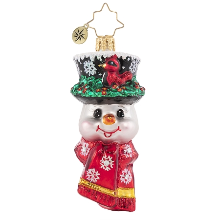 RADKO 1020672 A SNOWMAN WORTH FLOCKING TO GEM - SNOWMAN WITH CARDINAL ON TOP HAT ORNAMENT - NEW 2021 (29-8)