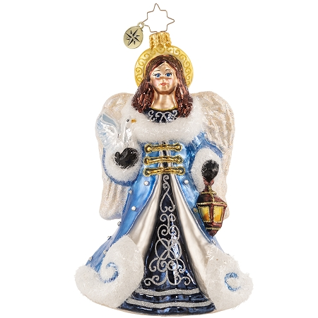 RADKO 1020731 PEACE AND LOVE ANGEL - RELIGOUS - JEWELED ANGEL WITH LANTERN ORNAMENT - NEW 2021 (21-4)
