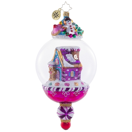 RADKO 1020748 CANDY HOUSE WORLD - GINGERBREAD HOUSE IN DOME ORNAMENT - NEW 2021 (21-1)