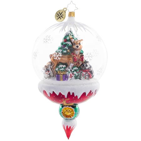 RADKO 1020751 WOODLAND CHRISTMAS CELEBRATION - CHRISTMAS TREE & DEER & RACCOON & RABBIT IN DOME ORNAMENT - NEW 2021 (21-1)