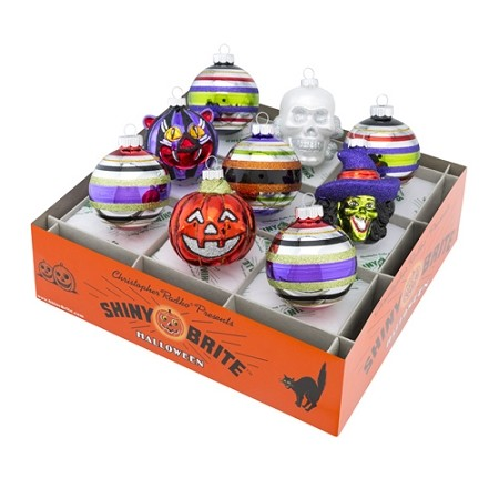 RADKO 4026975 SHINY BRITE - HALLOWEEN FIGURES & ROUNDS - ASSORTMENT 9 - NEW FOR 2016