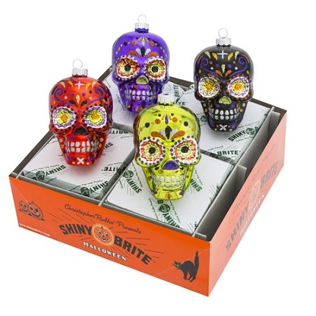 RADKO 4026980 SHINY BRITE - HALLOWEEN SKULLS - ASSORTMENT 4 - NEW FOR 2016