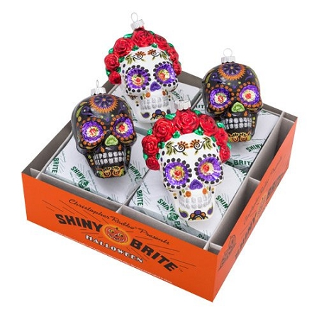RADKO 4027453 SHINY BRITE - HALLOWEEN BRIDE AND GROOM  SKULLS - ASSORTMENT 4 - NEW FOR 2017