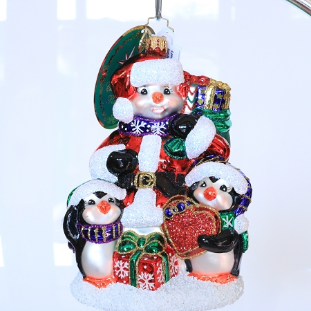 RADKO 1020036 CELEBRATE ADOPTION 2019 - GIFTS OF A FOREVER FAMILY - DAVE THOMAS FOUNDATION ADOPTION AWARENESS - SNOWMAN WITH PENGUINS ORNAMENT - NEW 2019 (19-1)  LIMIT ONE IN ANY COMBINATION PLEASE