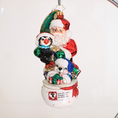 RADKO 1019796 CELEBRATE ADOPTION 2018 - DAVE THOMAS ADOPTING DARLING - DAVE THOMAS FOUNDATION ADOPTION AWARENESS - SANTA WITH PENGUIN & POLAR BEAR ORNAMENT - NEW 2018 (18-1)  LIMIT ONE IN ANY COMBINATION PLEASE