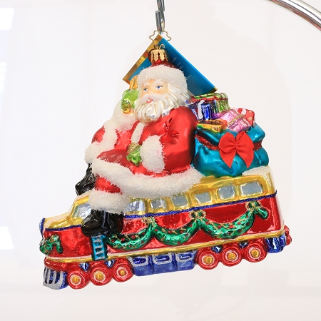 RADKO 1013931 20TH CENTURY NICK - SANTA RIDING TRAIN ORNAMENT - NEW 2008 (38-1)